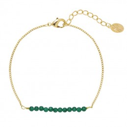 Armbandje green beads - goud